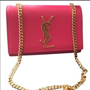 Yves Saint Laurent YSL pink & gold chained bag